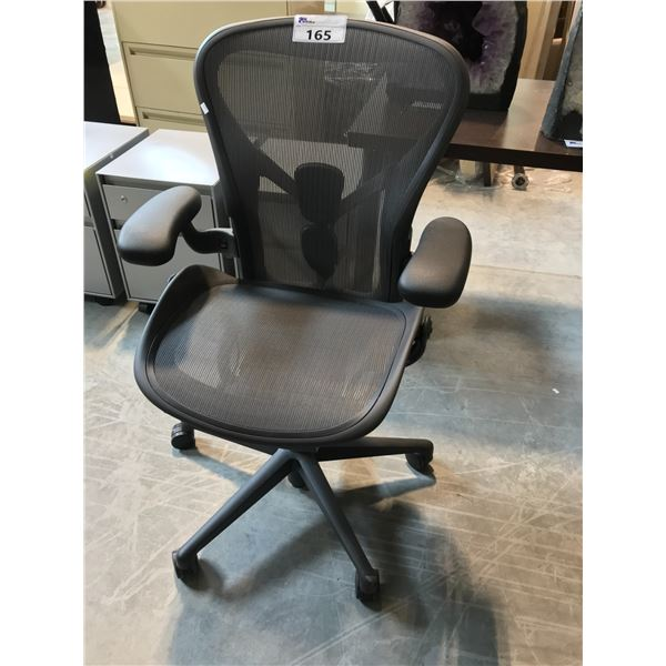 GRAPHITE HERMAN MILLER AERON STANDARD ADJUSTABLE TASK CHAIR (SIZE A) SUGGESTED RETAIL PRICE $1395 US