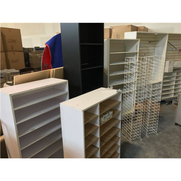 7 MISC. BOOKCASES AND 2 DISPLAY RACKS