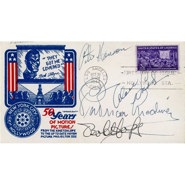 Peter Hanson, Alan Ladd, Patricia Medina, Bob Hope Signed First Day Cover