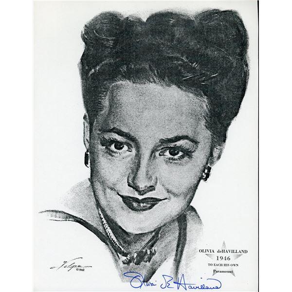 Olivia de Havilland Signed Volpe Print