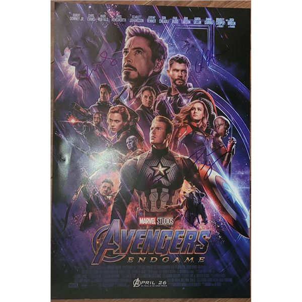 Avengers End Game Window Poster Signed by 5