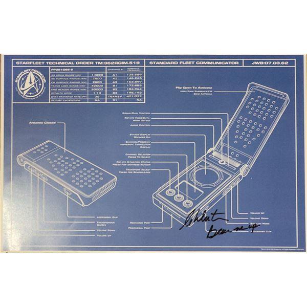 William Shatner Star Trek Signed Communicator Blueprint