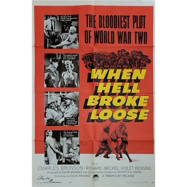 Charles Bronson Signed When Hell Broke Loose Poster