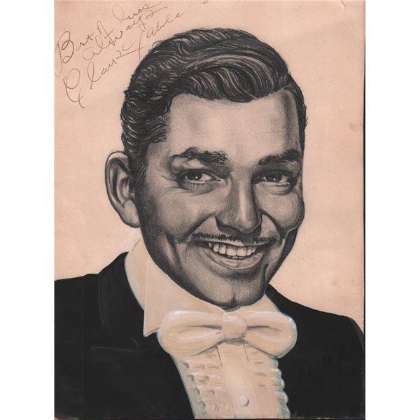 Clark Gable Signed Original Pastel Artwork