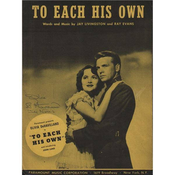 Olivia de Havilland Signed Sheet Music