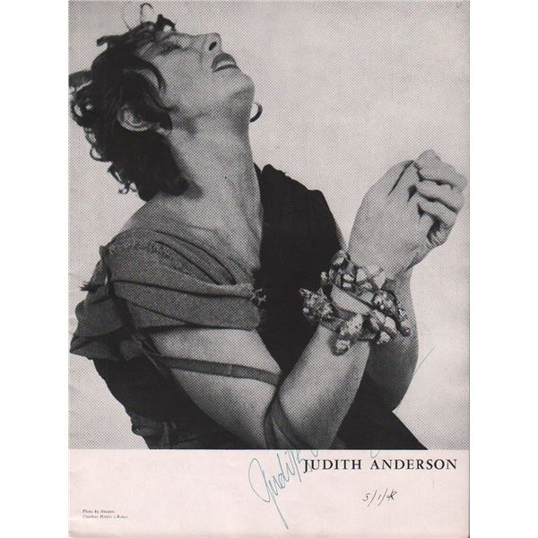 Dame Judith Anderson Signed Medea Program
