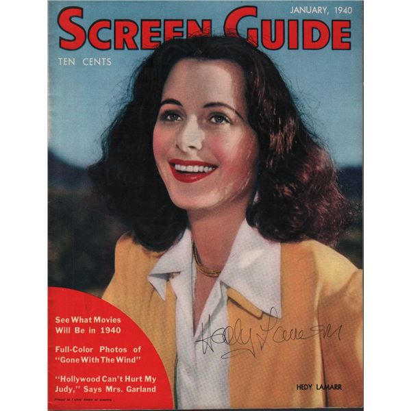 Hedy Lamarr Signed Screen Guide Magazine