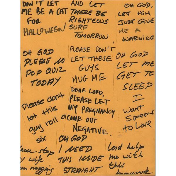 Jim Carrey Bruce Almighty Prop Prayer Notes