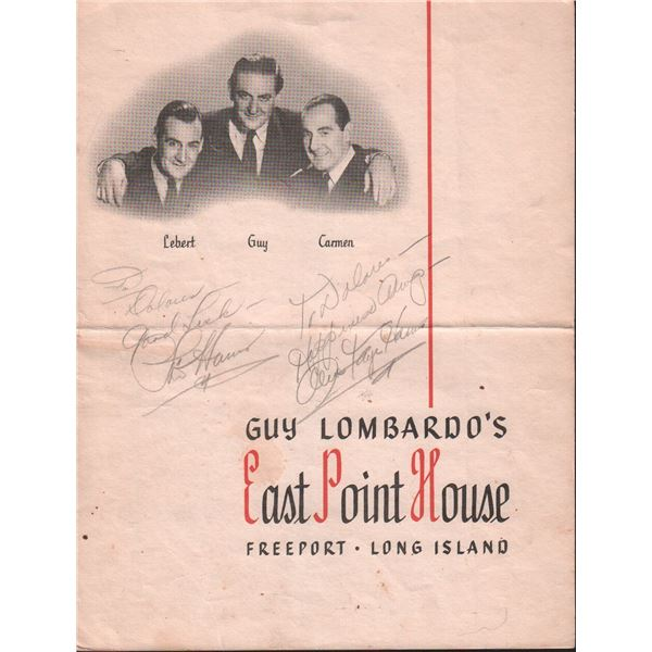 Phil Harris Alice Faye Signed Guy Lombardo Menu