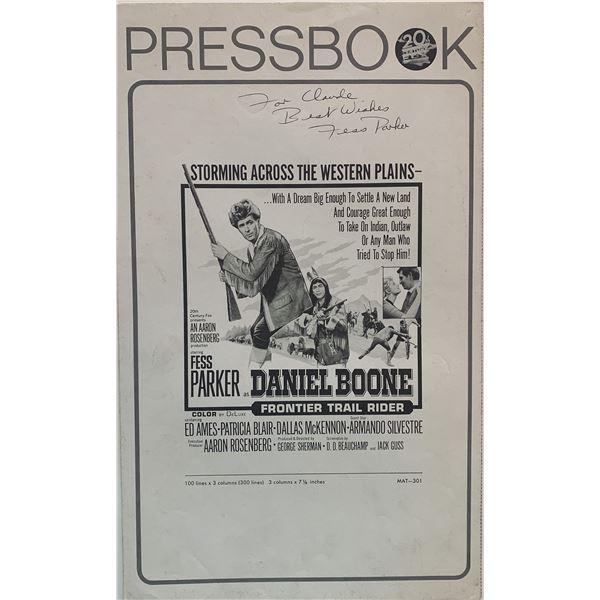 Daniel Boone, Frontier Trail Rider Fess Parker signed Press Book