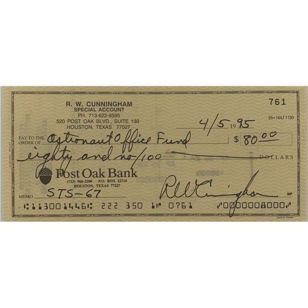 Apollo 7 Astronaut Walter Cunningham signed check