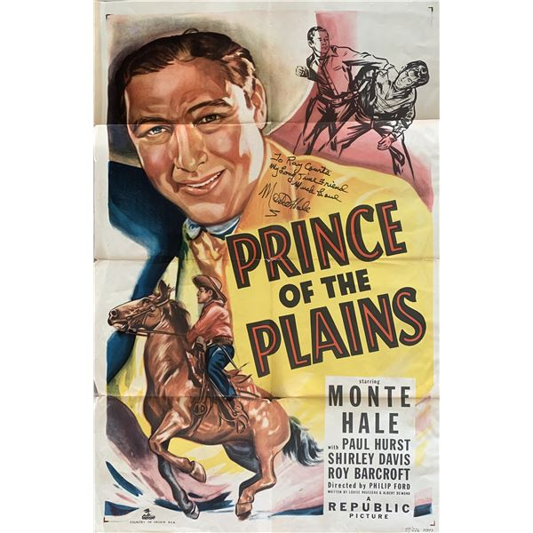 Monte Hall signed Prince of the Plains original poster