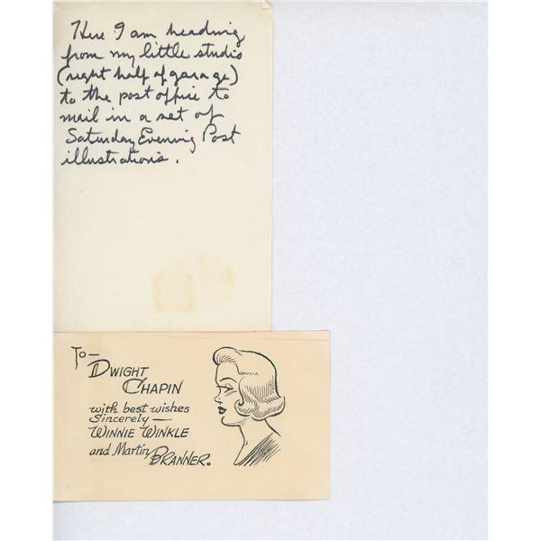 Winnie Winkle artist Martin Branner handwritten note and drawn sketch