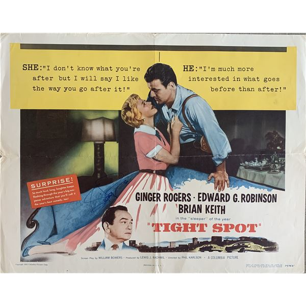 Tight spot original poster signed by Ginger Rogers