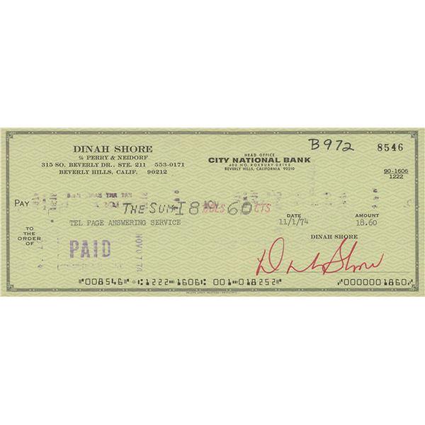 Dinah Shore signed check