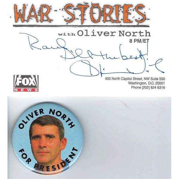 Oliver North signed Fox News card and button