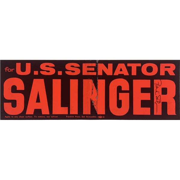 Pierre Salinger signed bumper sticker