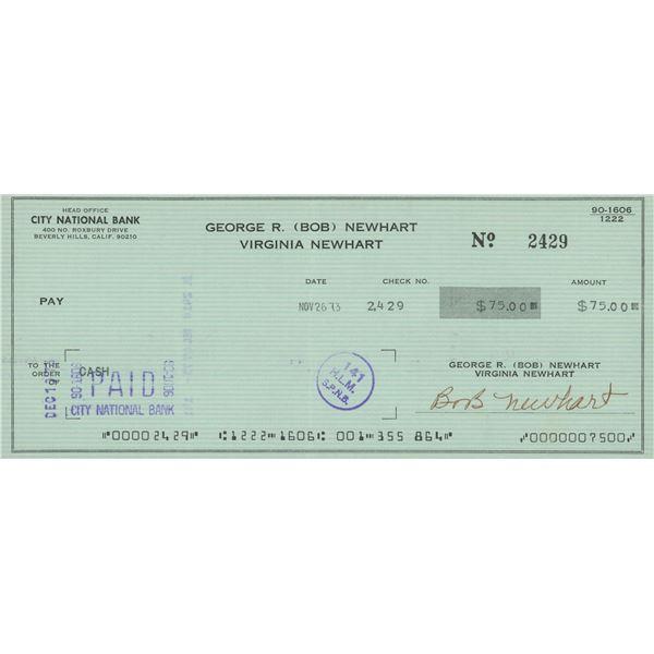 Bob Newhart signed check