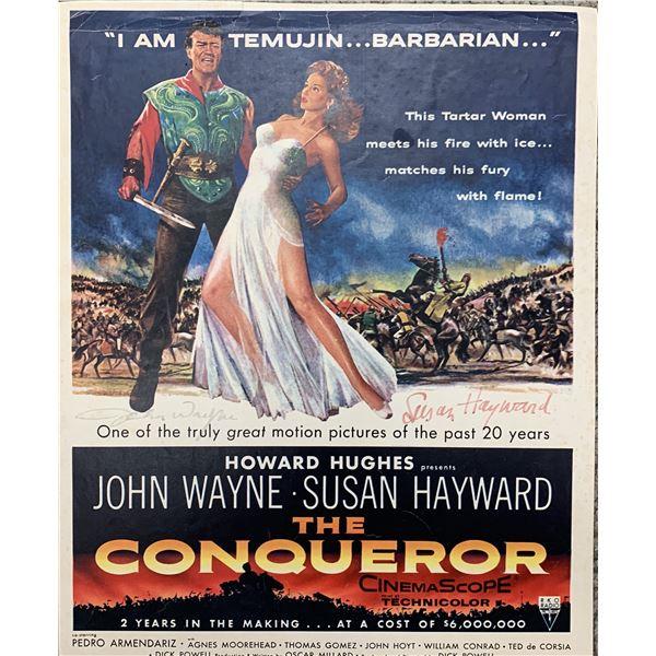 John Wayne and Susan Hayward signed The Conqueror lobby card