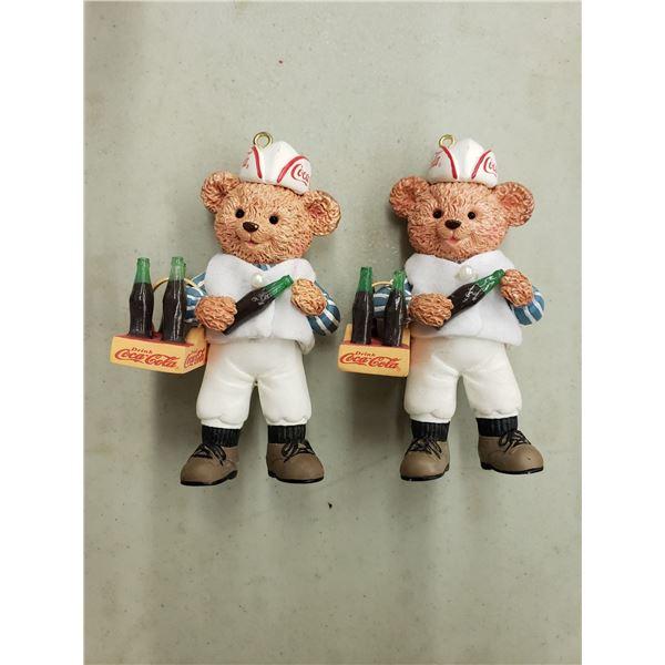 COCA COLA ORNAMENTS - POLAR BEAR HOLDING BOTTLES X 2