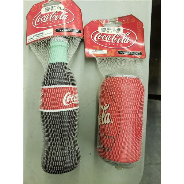 TWO COCA COLA SQUEEZE TOYS/STRESS BALLS - ONE BOTTLE - ONE CAN