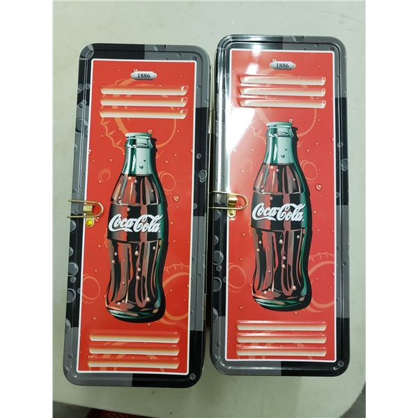 TWO COCA COLA LOCKER DESIGN TIN CASES AND BOTH COME WITH LOCKS