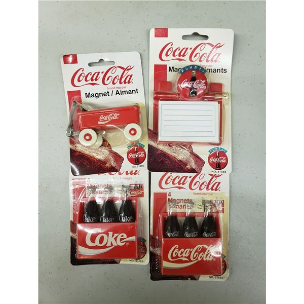 FOUR PACKS OF COCA COLA MAGNETS