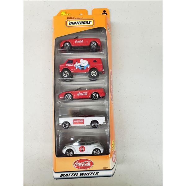 MATTEL WHEELS SET OF 5 COCA COLA CARS