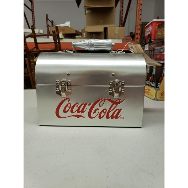 """SILVER COCA COLA LUNCH BOX 10""""X7""""X4 1/2"""""""