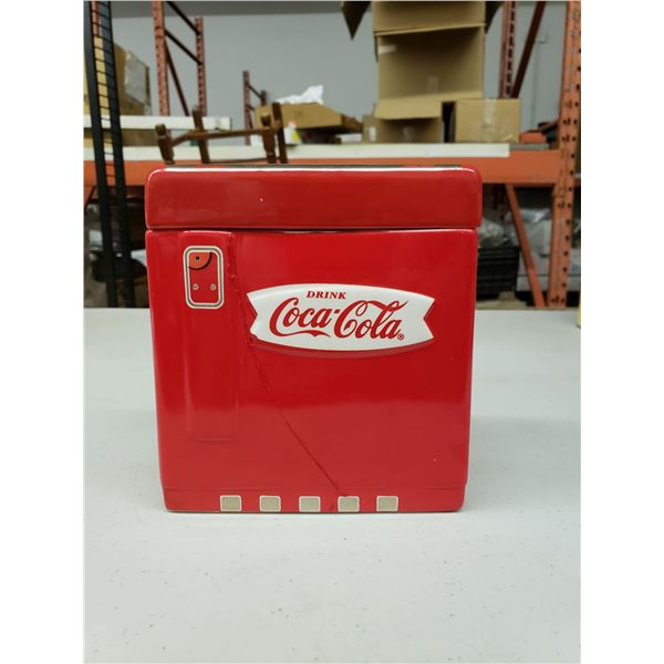 LARGE COCA COLA COOKIE JAR, (PREVIOUSLY CRACKED)