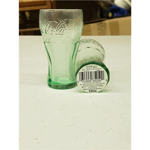 TWO SMALL GENUINE GLASS COCA COLA CUPS