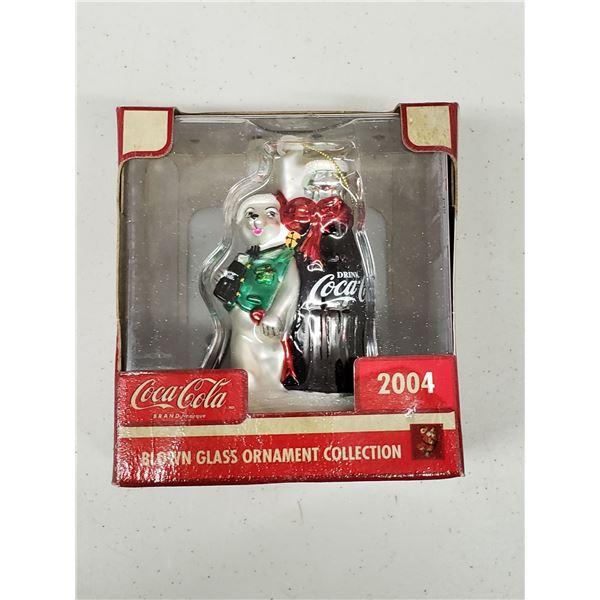 GLASS BLOWN COCA COLA BOTTLE ORNAMENT