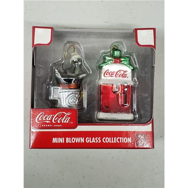 COCA COLA MINI BLOWN GLASS COLLECTION ORNAMENTS