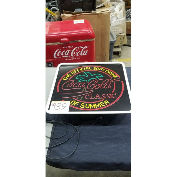 """COCA COLA NEON LIGHT SIGN """"THE OFFICAL DRINK OF THE SUMMER"""""""