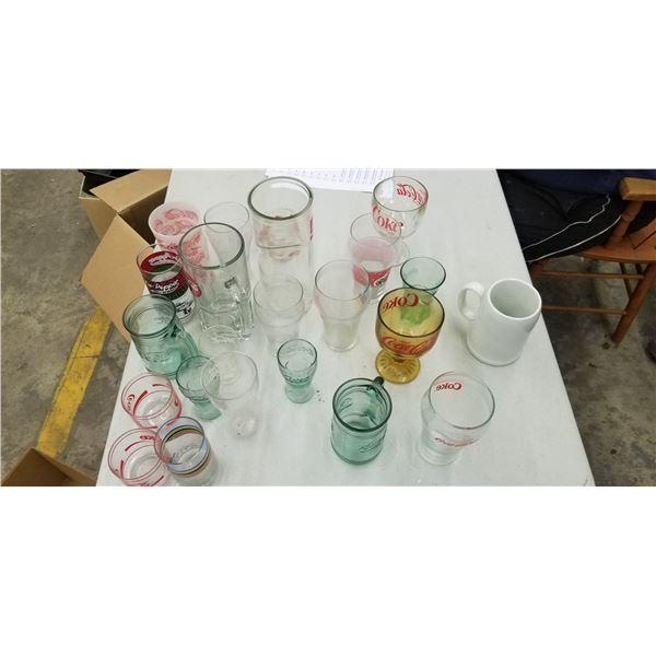 VARIETY OF COCA COLA GLASSWARE