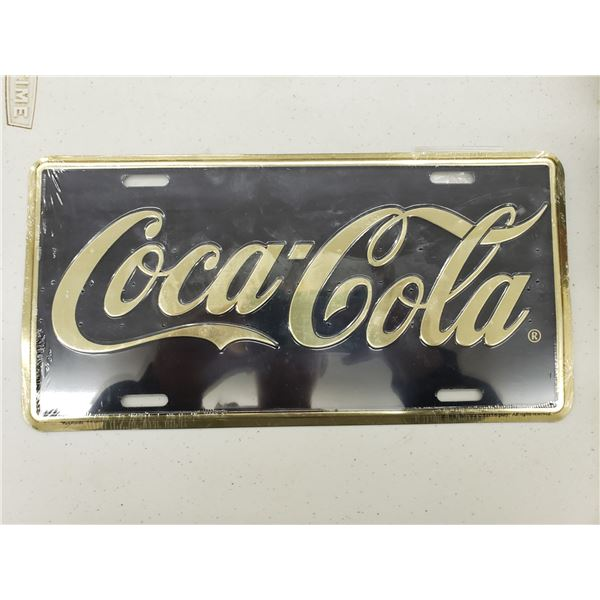 COCA COLA BLANK AND GOLD LICENSE PLATE