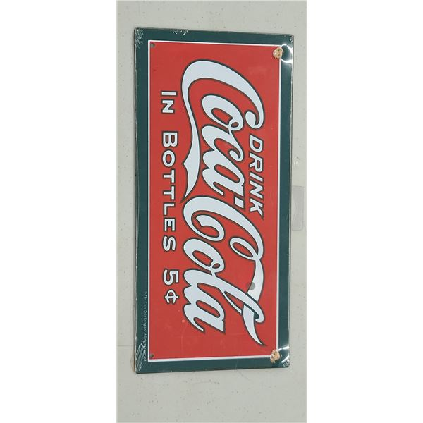 """""""DRINK COCA COLA IN BOTTLE 5 CENTS"""" HANGING DECOR"""