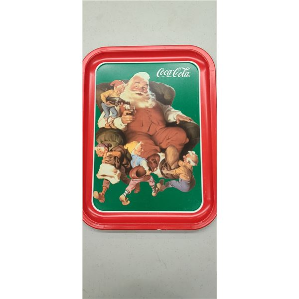 """""""SANTA WITH ELVES"""" COCA COLA TRAY ISSUED 1990"""