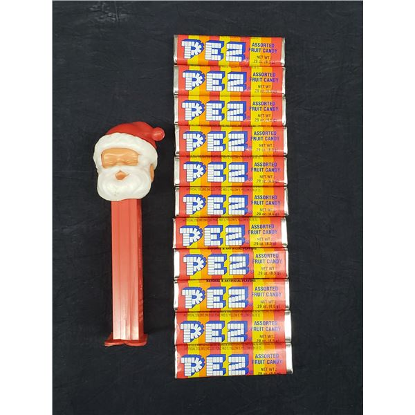 SANTA PEZ DISPENSER WITH 11 PACKS OF CANDY