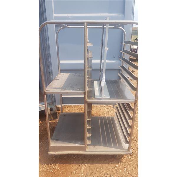 Mobile double Sheet Pan rack on wheels
