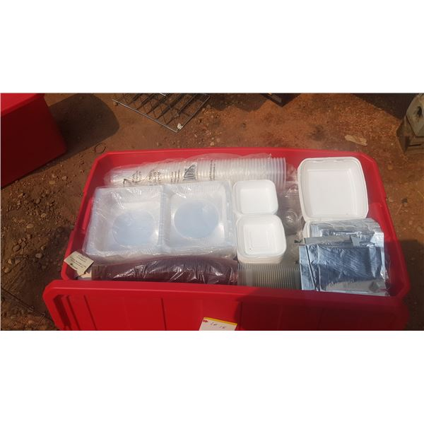 Large Storage container full of Clam shell Take out boxes