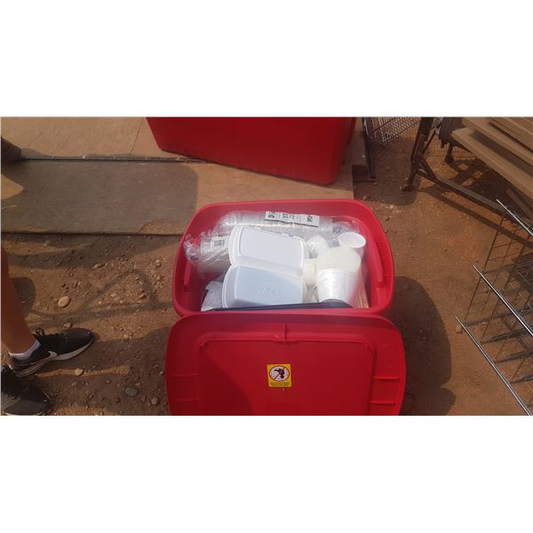 Storage Bin with contents food Take out Containers