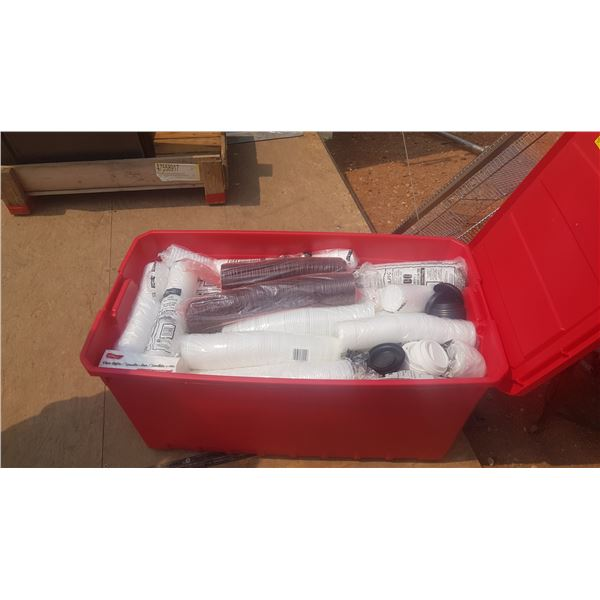 Large storage Container full of disposable cups and Lids