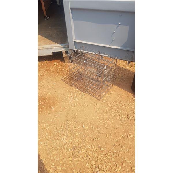 Small metal storage bin with shelfs