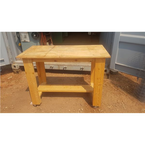 2' x 6' and plywood work bench on Casters