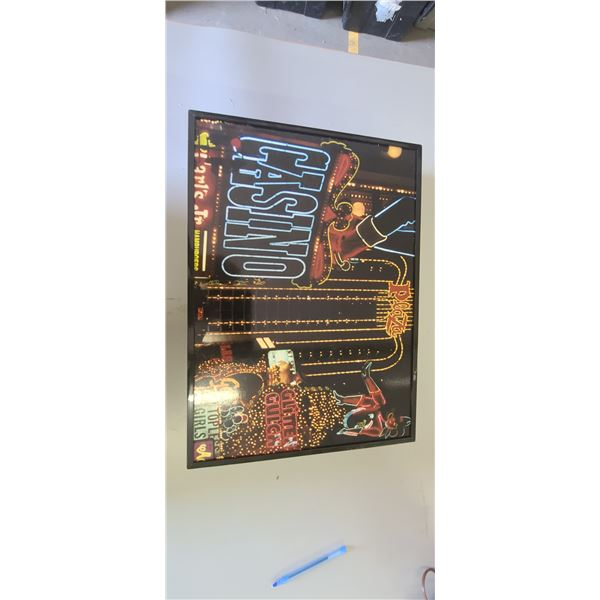 BATTERY POWERED LIGHT UP CASINO WALL MOUNT SIGN/PICTURE