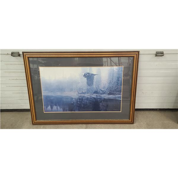 """FRAMED EAGLE PRINT BY T ISAAC 95'. SIZE 39"""" X 28"""""""