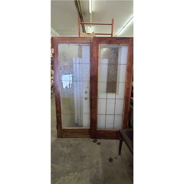 """TWO FRENCH DOORS 30"""" SOME CRACKED PAINS AND ONE MISSING"""