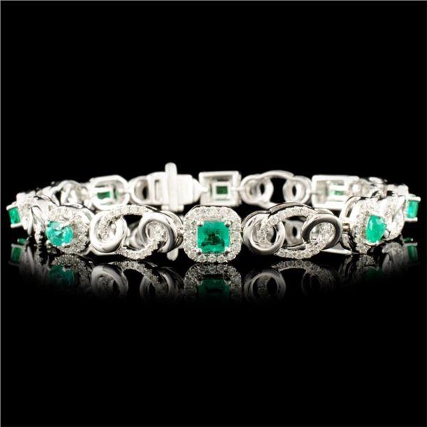 14K Gold 2.18ct Emerald & 1.50ctw Diamond Bracelet