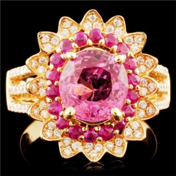 18K Gold 2.43ct Sapphire & 0.95ctw Diamond Ring